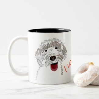 I love you! Labradoodle Two-Tone Coffee Mug