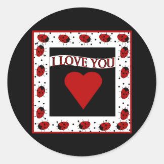 I Love You Ladybugs Classic Round Sticker