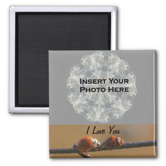 I Love You Ladybugs Customizable Photo Magnet