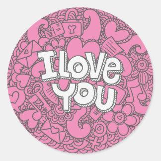 I Love You Lavender Purple Wedding Sticker