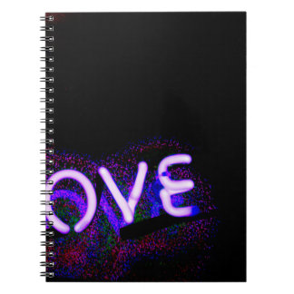 I love you light neon sign AT night photograph ROM Spiral Notebook