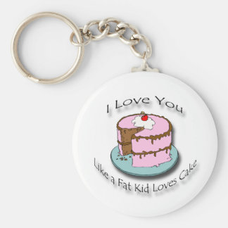 I Love You Like a Fat Kid Loves Cake black Basic Round Button Keychain