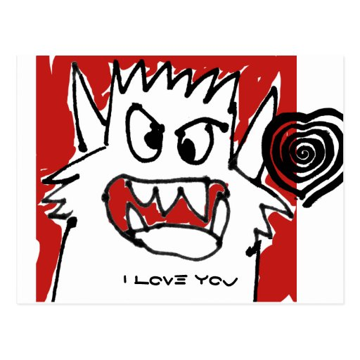 I Love You Lots Red Cartoon Monster Postcard