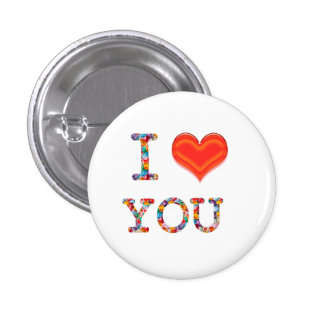 I LOVE YOU  Lovely SCRIPT Heart Image 1 Inch Round Button
