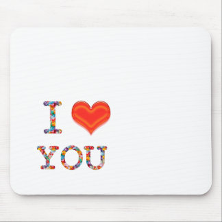 I LOVE YOU  Lovely SCRIPT Heart Image Mouse Pad