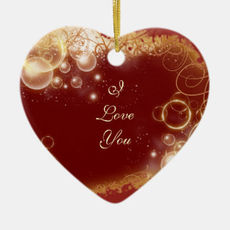 """""""I love you"""" """"marry me"""" proposal red heart Ceramic Ornament"""
