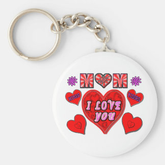 I Love You Mom Basic Round Button Keychain