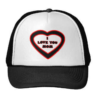 I Love You MOM Black Heart The MUSEUM Zazzle Gifts Trucker Hat