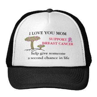 I LOVE YOU MOM, BREAST Cancer Ball Cap Trucker Hat
