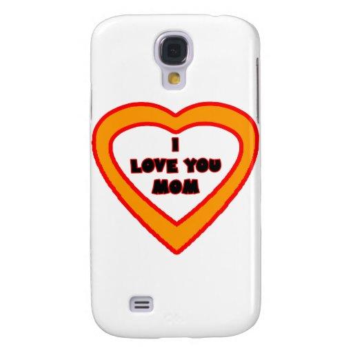 I Love You MOM Bright Orange  Heart The MUSEUM Zaz Samsung Galaxy S4 Case