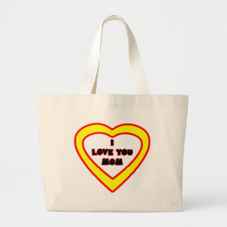 I Love You MOM Bright Yellow Heart The MUSEUM Zazz Large Tote Bag