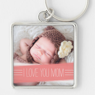 I Love You Mom | Coral Banner Photo Keychain