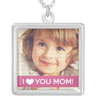 I Love You Mom - Custom Photo Silver Plated Necklace