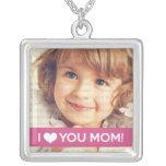 I Love You Mom - Custom Photo Square Pendant Necklace