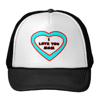 I Love You MOM Cyan Heart The MUSEUM Zazzle Gifts Trucker Hat