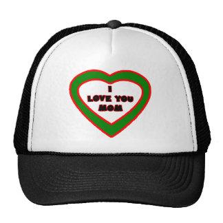I Love You MOM Dark Green  Heart The MUSEUM Zazzle Trucker Hat
