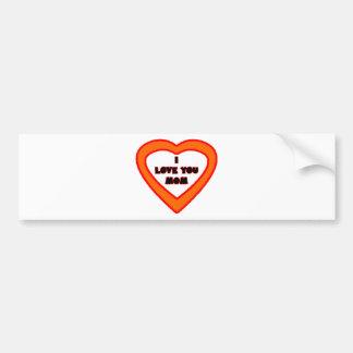 I Love You MOM Dark Orange  Heart The MUSEUM Zazzl Bumper Sticker