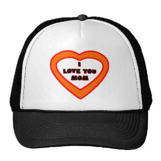 I Love You MOM Dark Orange  Heart The MUSEUM Zazzl Trucker Hat