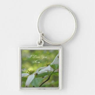 I Love You Mom Dogwood Flower Keychain