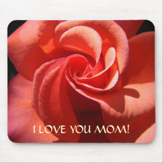 I LOVE YOU MOM! Gift Mousepad Mothers Rose Flower