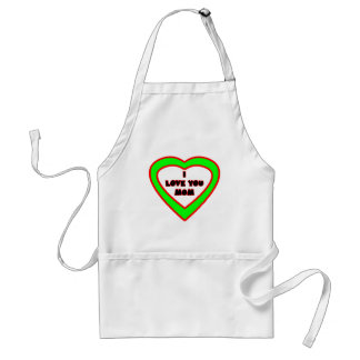 I Love You MOM Green  Heart The MUSEUM Zazzle Gift Apron