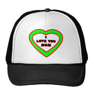 I Love You MOM Green  Heart The MUSEUM Zazzle Gift Trucker Hat
