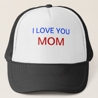 I Love You MOM Hat with red and blue letters.