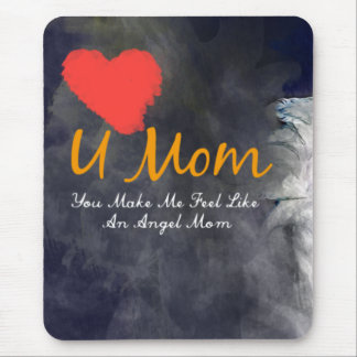 I love you mom heart grungy design mouse pad