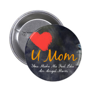 I love you mom heart grungy design pinback button