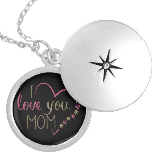 I love you Mom, Heart Pink Gold Black Silver Plated Necklace
