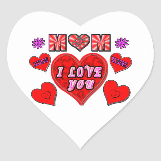 I Love You Mom Heart Sticker