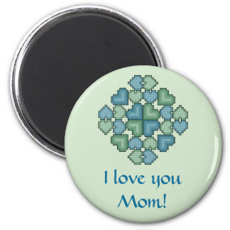 I love you Mom! Hearts Touch Magnet