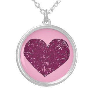 I love you Mom lace heart Mothers Day necklaces