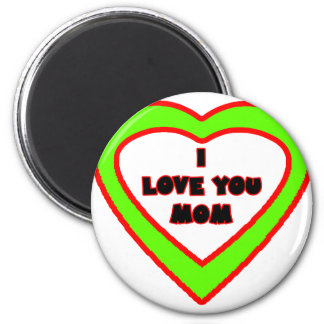 I Love You MOM Light Green  Heart The MUSEUM Zazzl Magnet