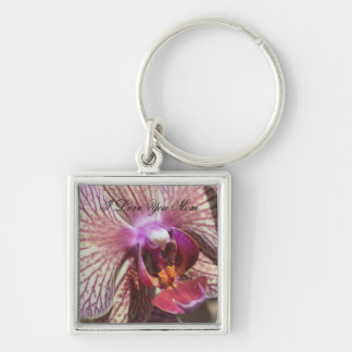 I Love You Mom Macro Orchid Flower Keychain