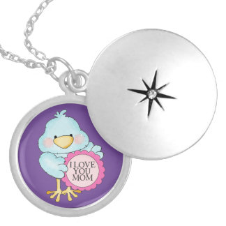 I LOVE YOU MOM Mothers Day Silver Locket Necklace