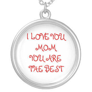 I LOVE YOU MOM ROUND PENDANT NECKLACE