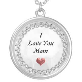 I Love You Mom Necklace silver plated