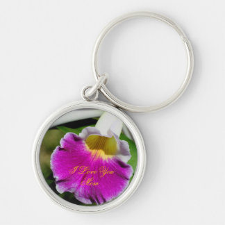 I Love You Mom Orchid Flower Keychain