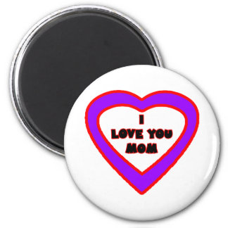 I Love You MOM Purple Heart The MUSEUM Zazzle Gift Magnet