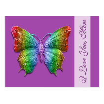 I Love You Mom Rainbow Butterfly for Mother's Day Postcard