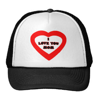 I Love You MOM Red Heart The MUSEUM Zazzle Gifts Trucker Hat