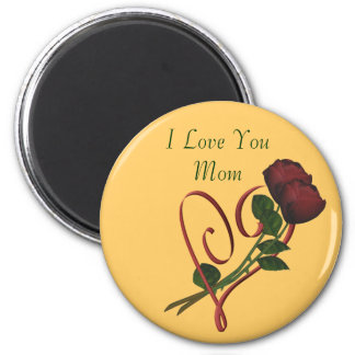 I Love You Mom Red Roses Heart Magnet