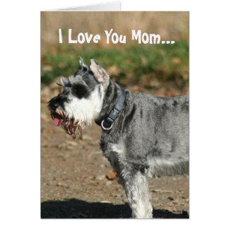 I Love You Mom Schnauzer dog greeting card
