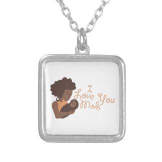 I Love You Mom Square Pendant Necklace