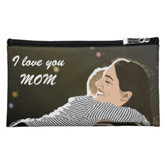 I love you MOM Suede Cosmetic Bag