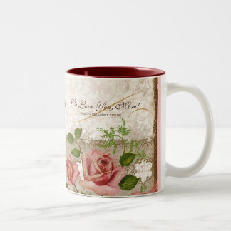 I Love You Mom, Vintage English Roses Mug