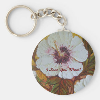 'I Love You Mom' White Hibiscus Mother's Day Keychain