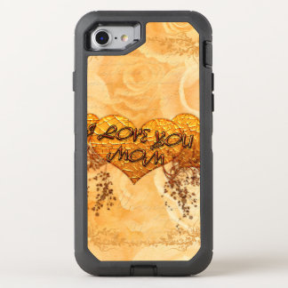 I love you mom with hearts and roses OtterBox defender iPhone 7 case