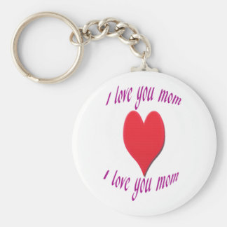 I Love You Mom With Red Heart Keychain